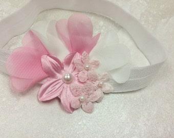 Chiffon Headband, Lace Flower Headband, Fabric Flower Headband, Pearls or Swarovski Crystals, Photo Prop, Baby Girl