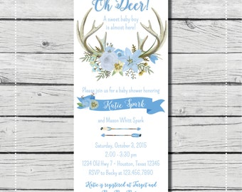 Oh Deer! A sweet baby boy is almost here Baby Shower or Birthday Invitation. {DIGITAL PRINTABLE INVITATION} Baby Shower Invitation.