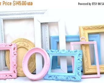 SALE Custom Make your Nursery wall gallery decor set includes 9 frames You choose colors shabby chic baby decor