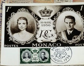 Remember Grace Kelly Our American Princess of Monaco. First Day Cover of Monaco Stamp Issued on Wedding Day, On Postcard of Royal Couple #61