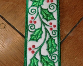 Embroidered Bookmark - Holly & Berries
