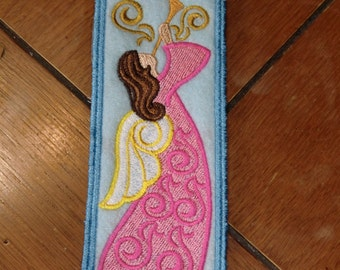 Embroidered Bookmark - Angel - Gold Swirls