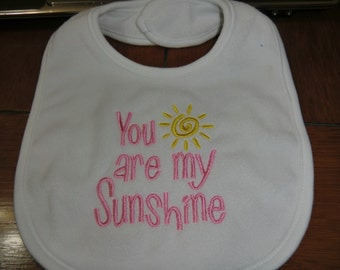 Embroidered Baby Bib - You Are My Sunshine