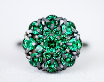 Alpinite cluster ring - vibrant green gemstones - silver oxydise