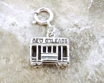 """Sterling Silver """"New Orleans"""" Street Car Charm on 8mm Sterling Silver Spring Ring for Charm Bracelets - 1286F"""