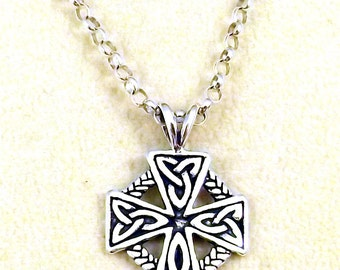 Sterling Silver Celtic Cross on a Sterling Silver Rolo Chain Necklace-2204