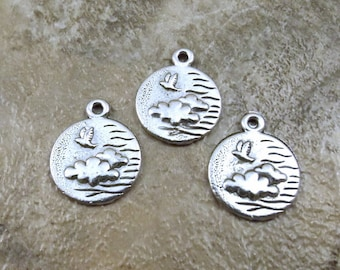Set of Three (3) Pewter WIND Charms - 4 Elements - 0017