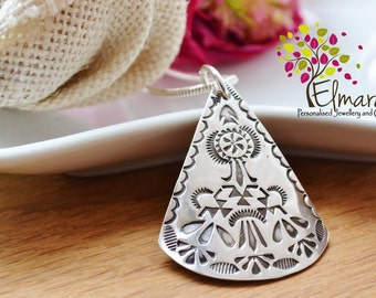 navajo inspired pendant hand stamped silver UK
