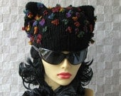 knitted hats for women Black Cat Hat Cat Beanie Knit Hat Black Womens Hat