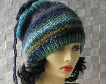 Colorful Hand Knit Hat - Slouchy Beanie - Beanie - Winter Hat - blue Hat - Beret - Slouchy Hat - Women Hat - Oversized Hat - Knit