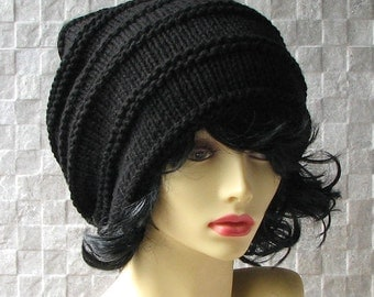 Hand Knit Womens Hat - Dreadlock Accessories - Black  Dread Tam - Dread Hat - Warm Winter Slouch - Oversized Hat