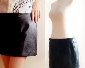 Vintage leather skirt ,italian leather mini skirt , 90's black leather skirt , goth short leather skirt