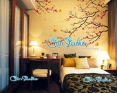 Cherry blossom tree wall decals with butterfly wall stickers home decor