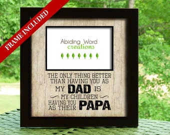 Father's Day gifts, Papa Christmas gift, Poppa, Grandpa, Dad personalized frame, Father, Grandchildren frame