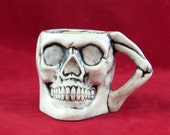 """Ready  to Ship -  Ceramic Small Skull """"Punch Bowl"""" Cup or Mug -SET OF TWO- 2.75 inches tall"""
