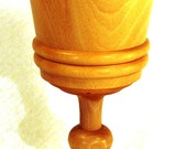 Lathe turned wooden chalice or goblet