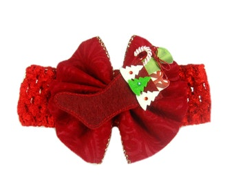 Baby Red Headband, Valentine Headband, Christmas Headband, Newborn Baby Head Band, Baby Hair Bow, Baby 1st Christmas