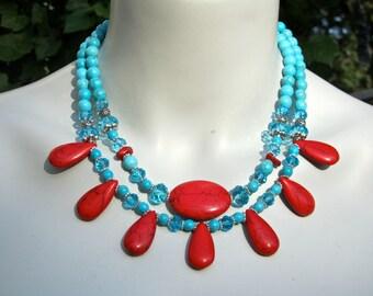 Chunky Turquoise Statement Necklace, Big Bold Bib Necklace, Blue Stone Necklace, Double Strand, Tribal Necklace, Red and Blue Necklace  993