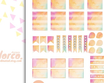 Spring WATERCOLOR themed weekly kit Printable Planner Stickers Erin Condren ECLP Happy Planner Inkwell Plum Paper Instant Digital Download
