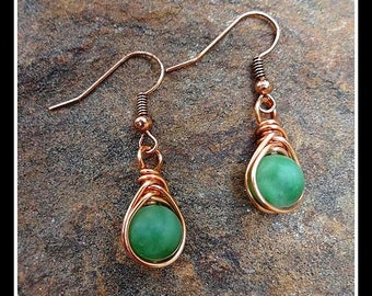 Copper Wire Wrapped Herringbone Earrings with Green Amazonite Dangle Earrings