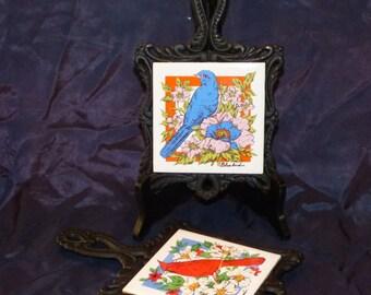 Vintage Set of Two Tile Trivets/ Cardinal and Blue Bird Tile Trivet