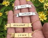 Gold Bar Necklace - Personalized Custom Name Bar Necklace