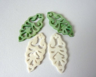 Shell Pendants, Green and White, Carved Shell, Filigree Shell Drop, Destash UK