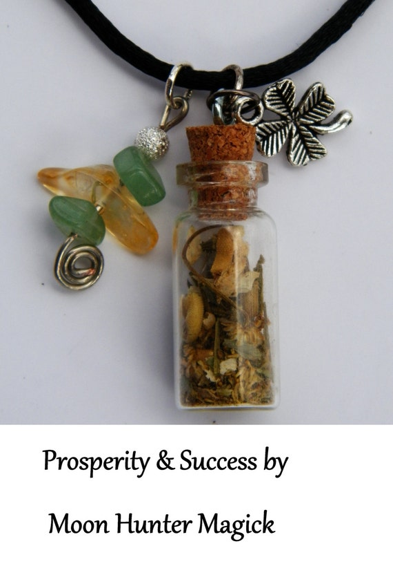 Prosperity Money Charm Bottle Necklace Pagan Wicca Reiki Ritual Lucky Amulet