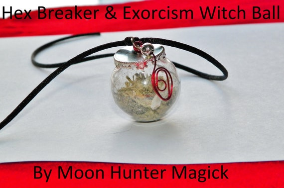 Hex Breaker Exorcsim Curio Charm Amulet Mini Witch Ball Witch Bottle Pagan Wicca Reiki