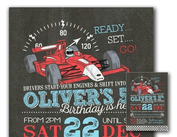 Race car invitation Race car party invitation Boys birthday