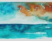 "Original Contemporary Abstract Watercolor Ink Painting on Watercolor Paper Postcard 4""x6"" Ocean, Clouds, Unframed"