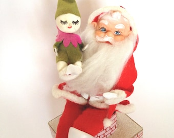 Christmas Santa Music Box Works Here Comes Santa Clause Japan Holding Elf