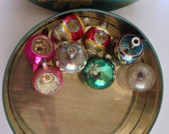 Glass Christmas Ornaments and Candy Tin Germany Poland USA Shiny Brite 8 Ornaments