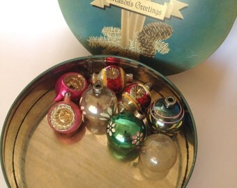 Lot of 8 Vintage Glass Christmas Ornaments and Candy Tin, Mixed Lot Germany, Poland, USA Shiny Ornaments Great Find