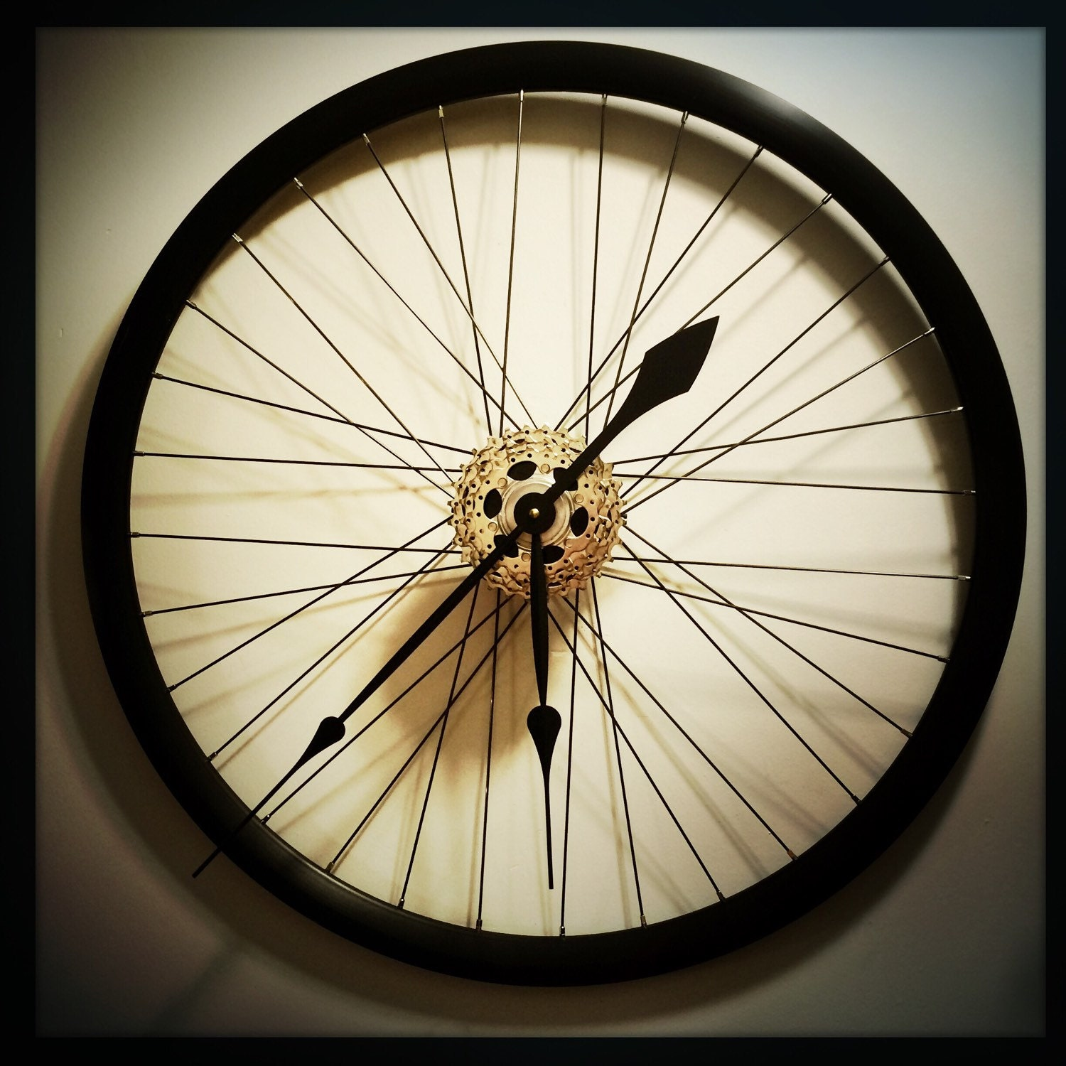 Bicycle wheel clock oversized wall clock steampunk wall art for Bicycle wheel wall art
