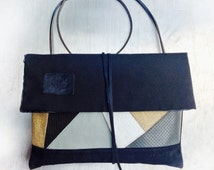 Silverstone bag, Japanese styled shoulder bag, leather, leather mosaic and black industrial canvas, graphite-silver canvas. Waterproof.