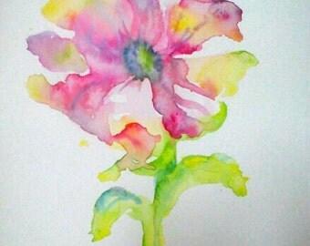 Watercolor flower art, floral watercolor art, floral painting art, floral art gift, aquarelle painting, original art, original watercolor