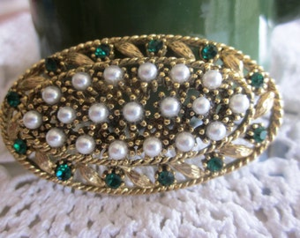 Estate SALE Vintage Pearl and Emerald Rhinestone Brooch in Lovely Oval Gold Setting, Heirloom Brooch, Bridal Jewelry, Wedding Jewelry