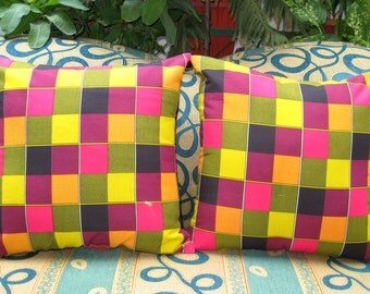 Colorful Throw Pillow, Outdoor Pillow, Multicolored, Decorative, Cushion Cover, Plaid, Vibrant, Bright, 18x18 - 'Rainbow Sherbet'