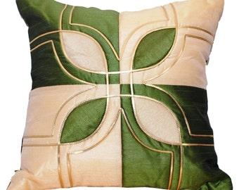 Green Throw Pillow, Flower Throw Pillow, Decorative Throw Pillow, Green, Emerald, White, Gold - 'Green Blossom'