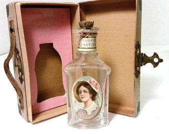 VICTORIAN Antique 1800s Carnation Molded Glass Bottle Portrait CAMEO Label Cork Stopper Original Travel Steamer Trunk Box Case Belle Epoch