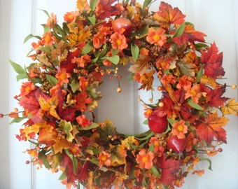 Fall wreath, fall door wreath, fall decoration, autumn wreath, autumn door wreath, Thanksgiving wreath, outdoor wreath, front door wreath