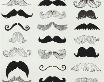 """ON SALE Where's My """"Stache from Alexander Henry Fabrics"""