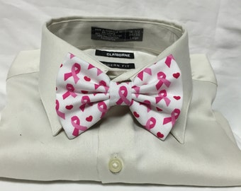 Pink Ribbon Bowtie / Bow Tie or Hair Bow
