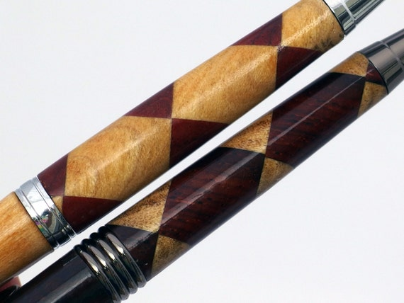 Wood Pen Set in checker and circle harlequin pattern, his and hers wooden pen set, handcrafted wood pens, dark and light letter writing set
