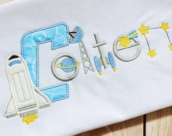 Space Birthday Shirt - Rocket Ship Birthday Shirt -  Custom Tee Personalized Birthday Tee 52