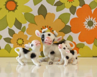 Vintage Set of 3 China Cows Kitsch Cute