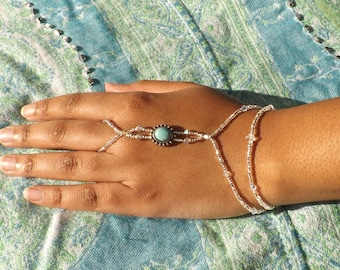 Slave Bracelet Turquoise Crystal Bracelet Hand Jewelry Beach Wedding Jewelry