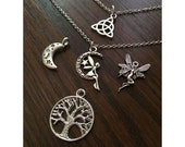Witchy Charm Necklace - Faerie, Book of Shadows, Tree of Life, Triquetra, Pentacle, Pagan - The Craft Collection