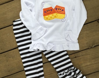 Fall and Halloween Outfit available in long or short sleeves perfect for infants, toddlers and girls!